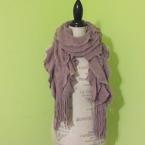 Draped taupe knit scarf